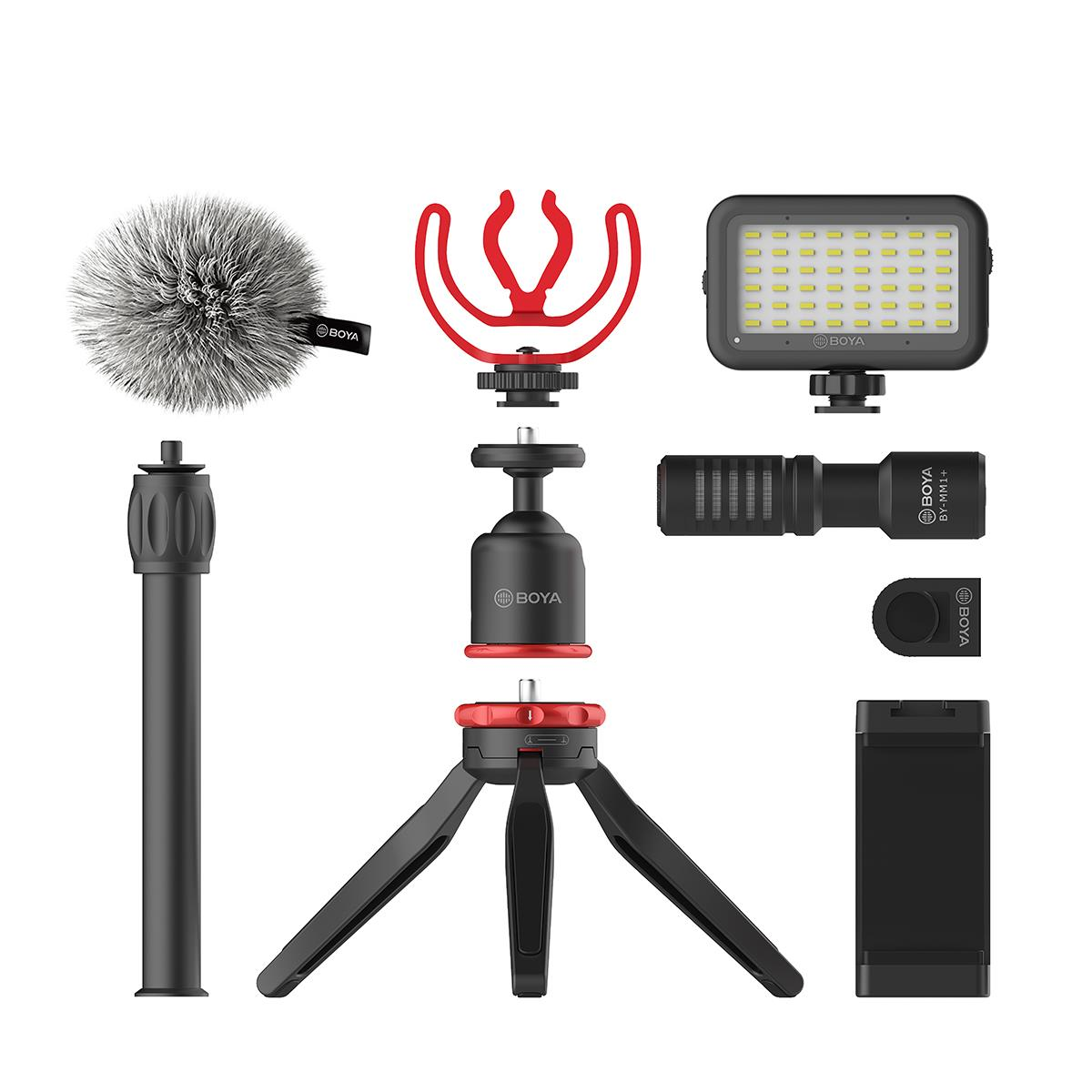 BOYA BY-VG350 Vlogger Kit Plus with BY-MM1+ Shotgun Microphone, LED Light Microphones for iOS & Android Devices Boya