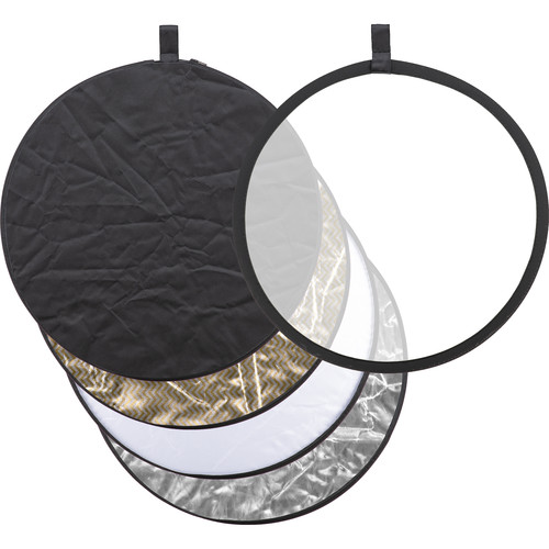 Godox Collapsible 5-In-1 Reflector Disc (24″, Black/Silver/Soft Gold & Silver/White/Translucent)