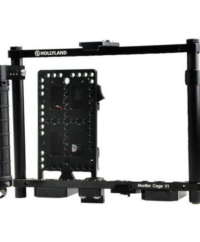 Hollyland Monitor Cage with Rubber Handgrips for 5 to 9″ Monitors (Gold Mount)