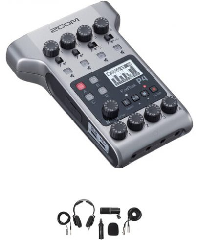 Zoom PodTrak P4 Portable Multitrack Podcast Recorder with Podcast Mic Pack Kit Portable Audio Digital Recorders Zoom
