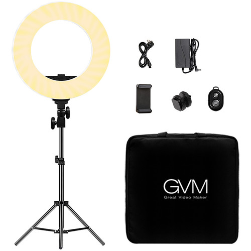 GVM HD-14S Bi-Color LED Ring Light (14″) Continuous Lighting GVM