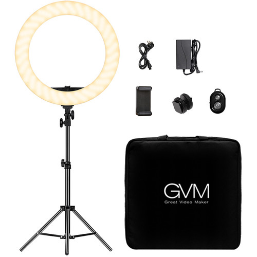 GVM HD-18S Bi-Color LED Ring Light (18″) Continuous Lighting GVM