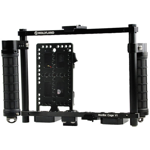 Hollyland Monitor Cage with Rubber Handgrips for 5 to 9″ Monitors (Gold Mount) Monitors Accessories Hollyland