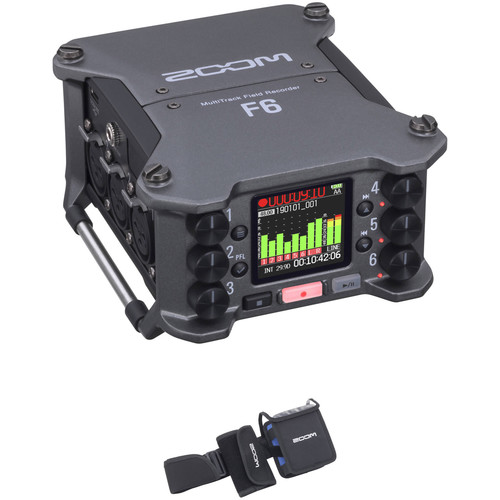 Zoom F6 6-Input / 14-Track Multitrack Field Recorder Kit with Wearable Protective Case Portable Audio Digital Recorders Zoom
