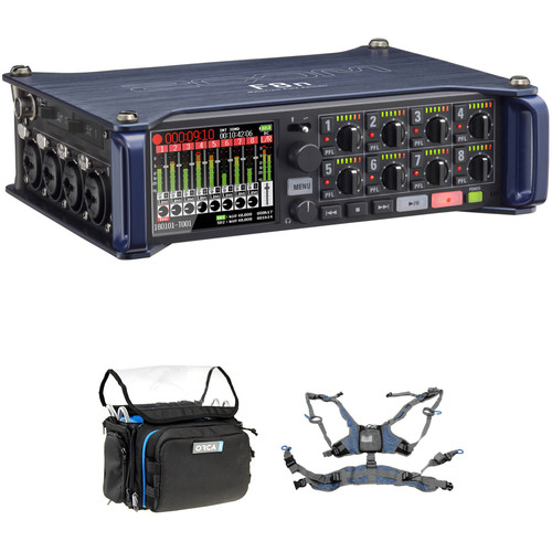 Zoom F8n Multitrack Field Recorder Kit with ORCA OR-28 Mini Bag & Harness Portable Audio Digital Recorders Zoom