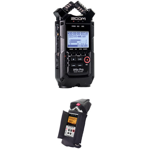 Zoom H4n Pro 4-Input / 4-Track Portable Handy Recorder Kit with Protective Case (Black) Portable Audio Digital Recorders Zoom