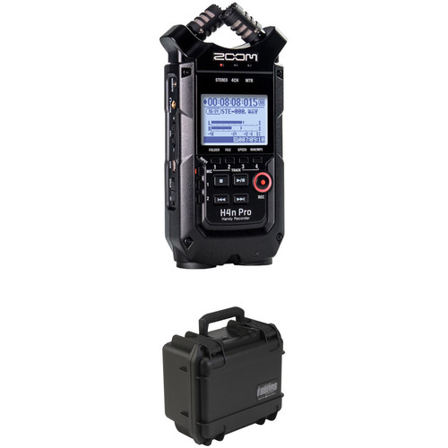 Zoom H4n Pro 4-Input / 4-Track Recorder and Custom-Fit Waterproof Case Kit (Black) Portable Audio Digital Recorders Zoom