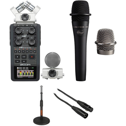 Zoom H6 Recorder Podcast Kit with enCORE 100 Microphone Portable Audio Digital Recorders Zoom