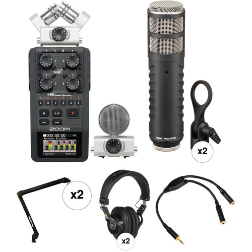 Zoom H6 Recorder Podcast Kit with Two Rode Procaster Microphones Portable Audio Digital Recorders Zoom