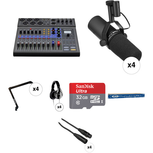 Zoom LiveTrak L-8 Four-Person Podcast Kit with Shure SM7B Microphones Portable Audio Digital Recorders Zoom