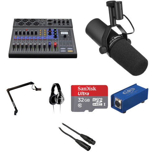 Zoom LiveTrak L-8 Solo Podcast Kit with Shure SM7B Microphone Portable Audio Digital Recorders Zoom