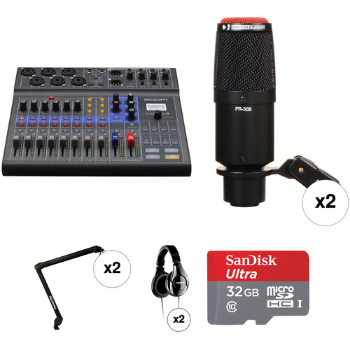 Zoom LiveTrak L-8 Two-Person Podcast Kit with Heil Sound PR 30B Microphones Portable Audio Digital Recorders Zoom