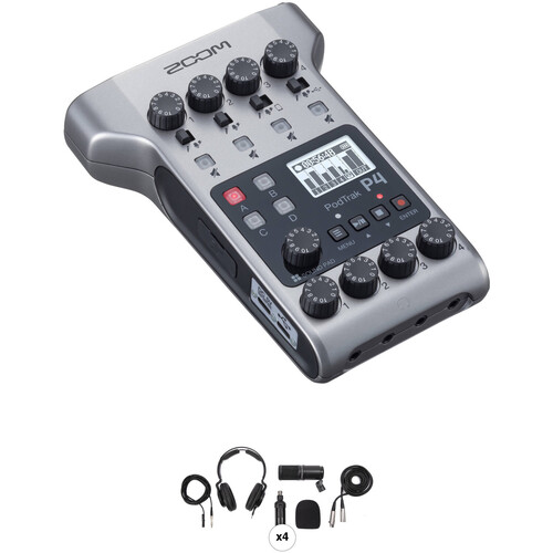 Zoom PodTrak P4 Portable Multitrack Podcast Recorder with 4-Person Podcast Mic Pack Kit Portable Audio Digital Recorders Zoom