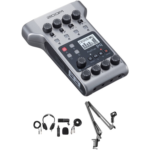 Zoom PodTrak P4 Portable Multitrack Podcast Recorder with Podcast Mic Pack and Crane Arm Kit Portable Audio Digital Recorders Zoom