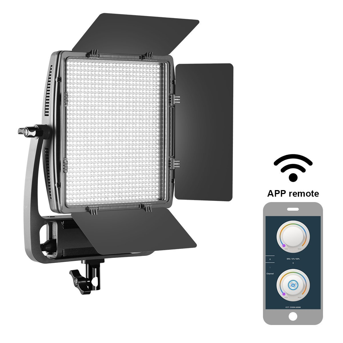 GVM Dimmable Bi-Color S900D LED Video Light and Stand Lighting Kit, with APP Intelligent Control System/CRI97 Dimmable 3200-5600K Continuous Lighting GVM