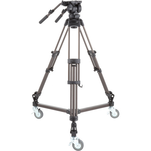 Libec LX10 Studio Two-Stage Aluminum Tripod System and H65B Head with Dual Pan Handles and Spreader Dolly Pro Video Libec