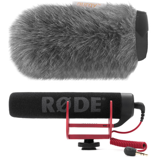 Rode VideoMic GO Camera-Mount Shotgun Microphone Kit with Auray Custom Windshield Audio Wired Shotgun Mics ENG/EFP Rode