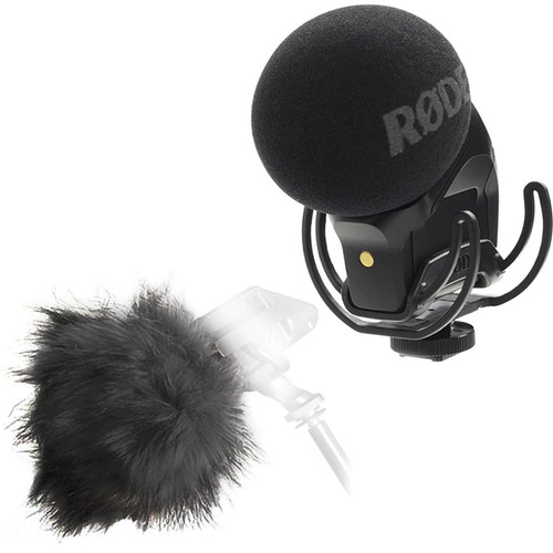 Rode Stereo VideoMic Pro Rycote with Deadkitten Fur Windshield Kit Audio Wired Shotgun Mics ENG/EFP Rode