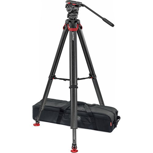 Sachtler System FSB 6 Fluid Head with Sideload Plate, Flowtech 75 Carbon Fiber Tripod with Mid-Level Spreader and Rubber Feet Pro Video Sachtler
