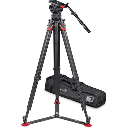 Sachtler Video 15 SB Fluid Head with flowtech 100mm Carbon Fiber Tripod & Carry Handle Kit Pro Video Sachtler