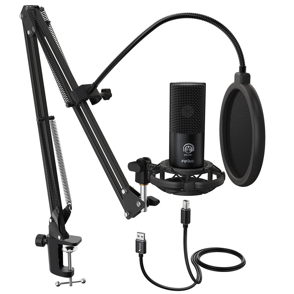 FIFINE T669 USB Mic Bundle with Arm Stand, Shock Mount and Pop Filter for Streaming, Podcasting Pro Audio FIFINE