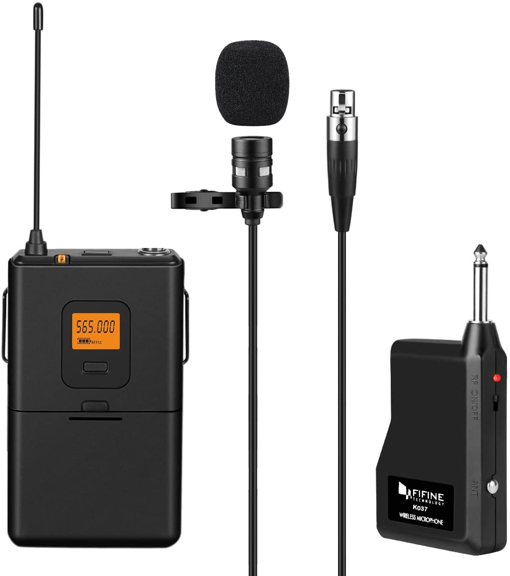 Fifine 20-Channel UHF Wireless Lavalier Lapel Microphone, Perfect for Live Performance- K037