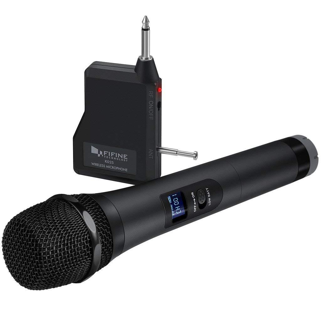 Fifine K025 Wireless Handheld Microphone System, Battery-powered For Karaoke Night