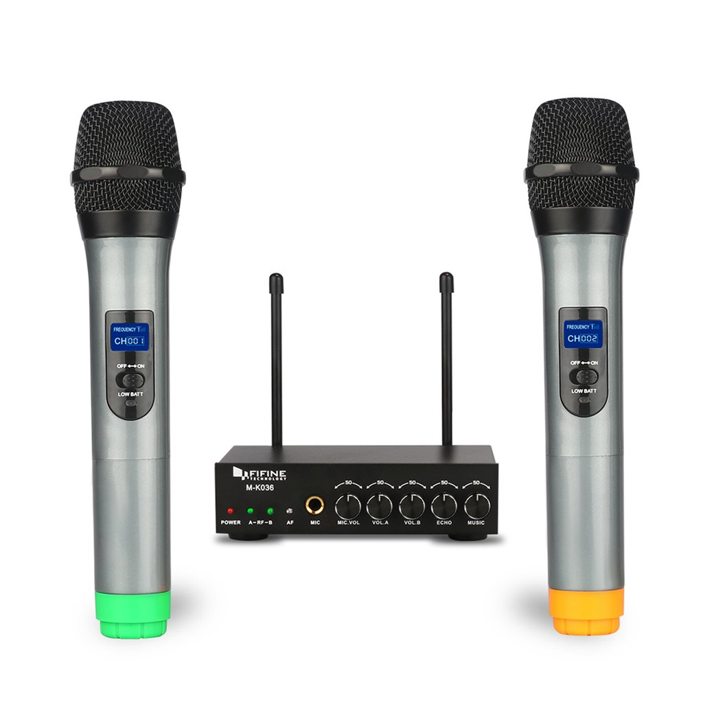 Fifine K036 Dual Wireless Microphones System For Gig, Home Karaoke With Pa Speaker, Karaoke Machine
