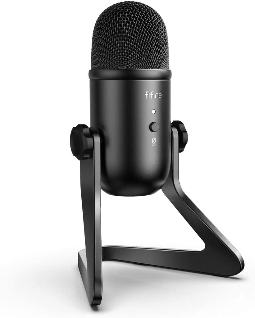 Fifine K678 Studio USB Mic With A Live Monitoring, Gain Controls, A Mute Button For Podcasting Pro Audio FIFINE
