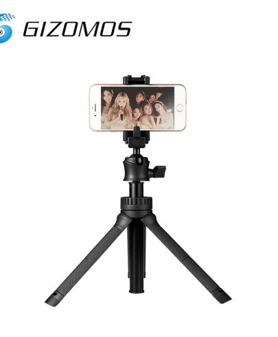 Gizomos GP-15ST Selfie Table Tripod Unique 2 in 1 phone holder with hot shoe design Pro Video Gizomos