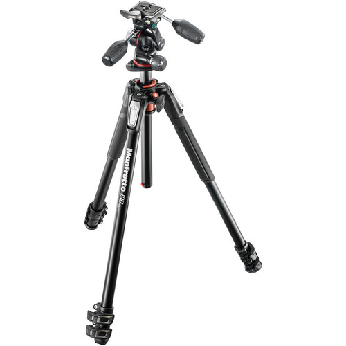 Manfrotto MK190XPRO3-3W Aluminum Tripod with 3-Way Pan/Tilt Head Pro Video Manfrotto