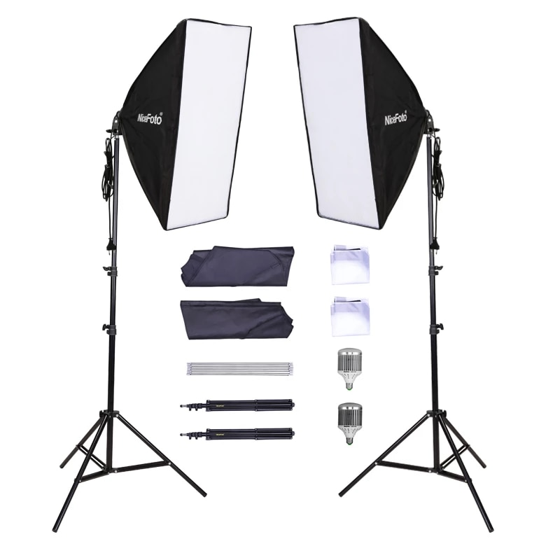 Nicefoto KT-1305 Professional 2 Light Kit LED 180 + 2 pcs 50x70cm Softbox + 2pcs 220ALight Stand Kit LED Lamp Set Continuous Lighting Professional Lighting