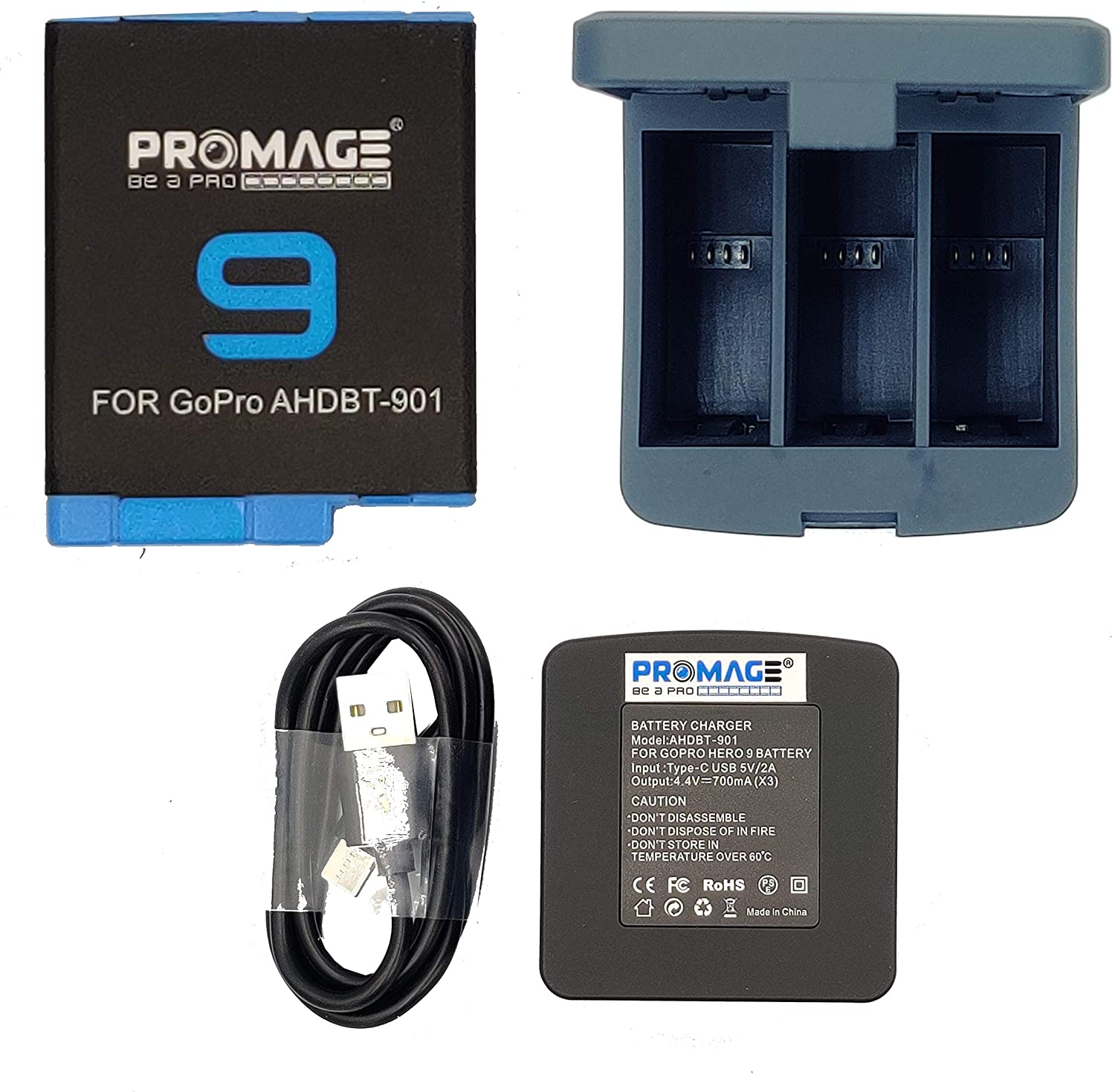Promage Battery for GoPro Hero 9 + Promage 3 Slots Storage Charger Box For GoPro Hero 9 Black Action Camera